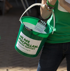 Image of a Macmillan donation bucket