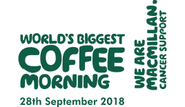 We are Macmillan. Cancer support. Worlds biggest coffee morning. 30th September.
